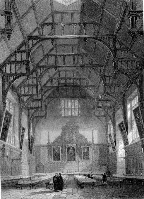 Interior of the Hall, Trinity College in 1838 — Victorian Cambridge