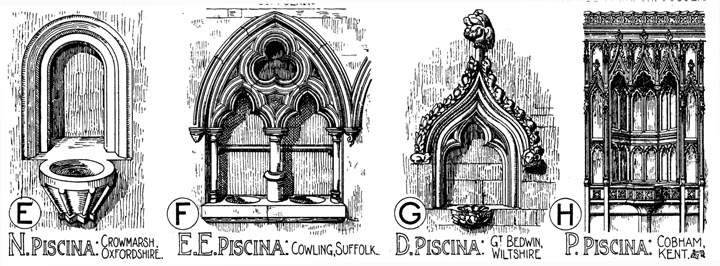 Examples Of English Gothic Design Piscinas Drawn By Banister Fletcher