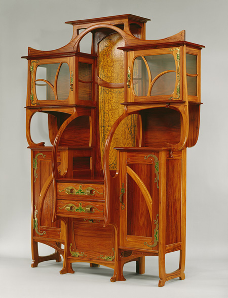 Cabinet vitrine 1890 by mile gall for Meuble art nouveau
