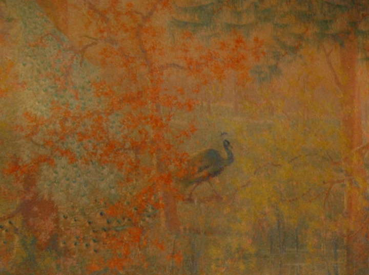 peacock wallpaper in in the wisteria dining room, metropolitan