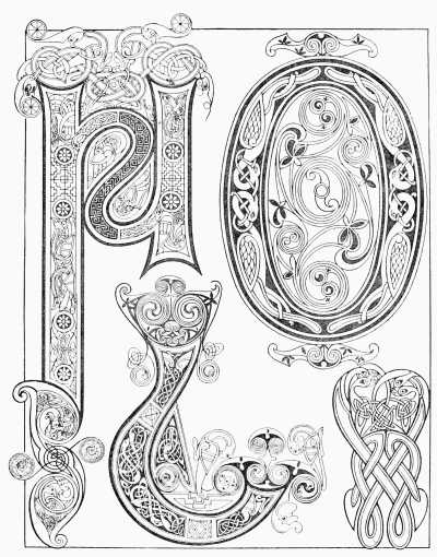 Plate viii examples from the book of kells 9th century for Book of kells coloring pages