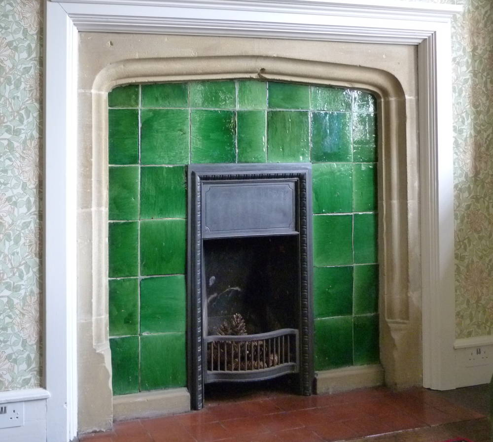 Very best Garrard plain glazed tiles in a fireplace in Mount Grace Priory  LE41