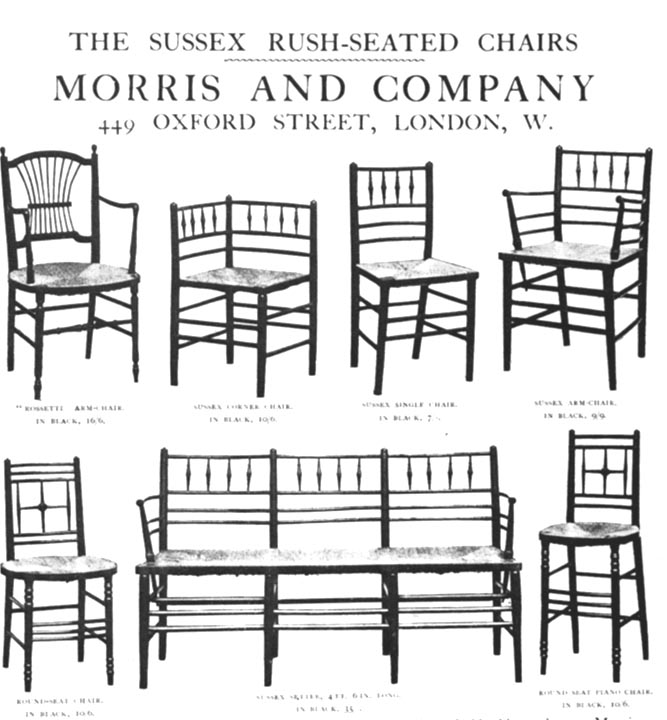 sussex rush seated chairs by william morris and co. Black Bedroom Furniture Sets. Home Design Ideas