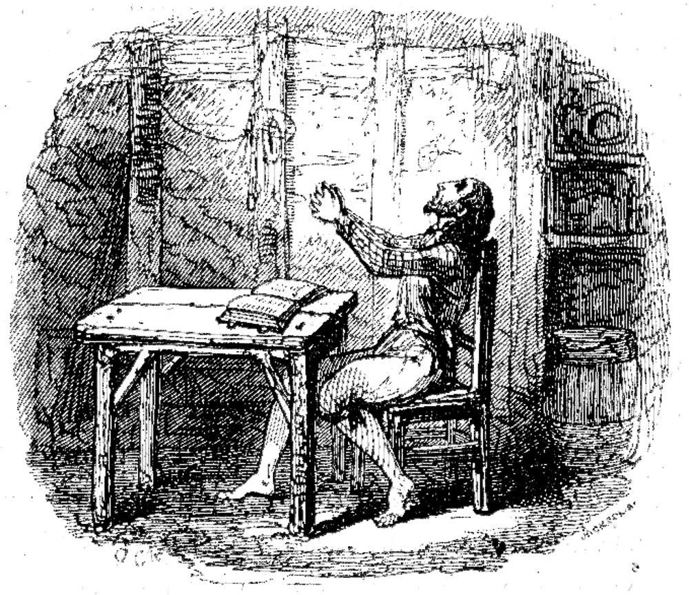 "Jesus, . . . give me repentance"" by George Cruikshank for Daniel Defoe's ""Robinson  Crusoe"" (1831; rpt. 1890)"