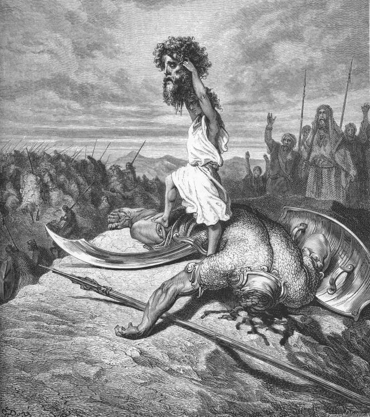 David And Goliath By Gustave Dore From The Holy Bible With