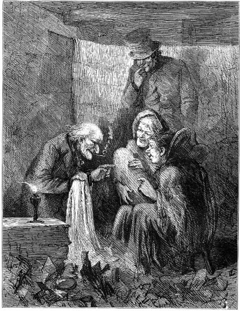 two concluding illustrations of scenes indicative of scrooges redemption left eytinges old joe stave four right abbeys its i your uncle