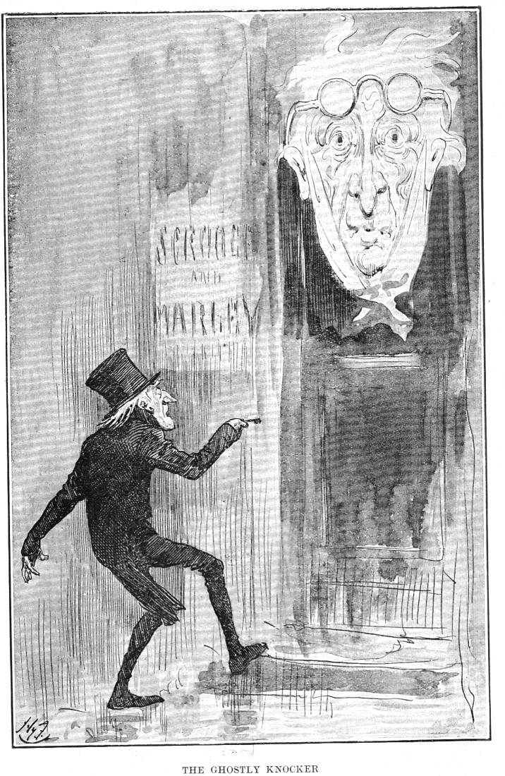 A Christmas Carol Scrooge Drawing Easy.The Ghostly Knocker By Harry Furniss Fourth Illustration