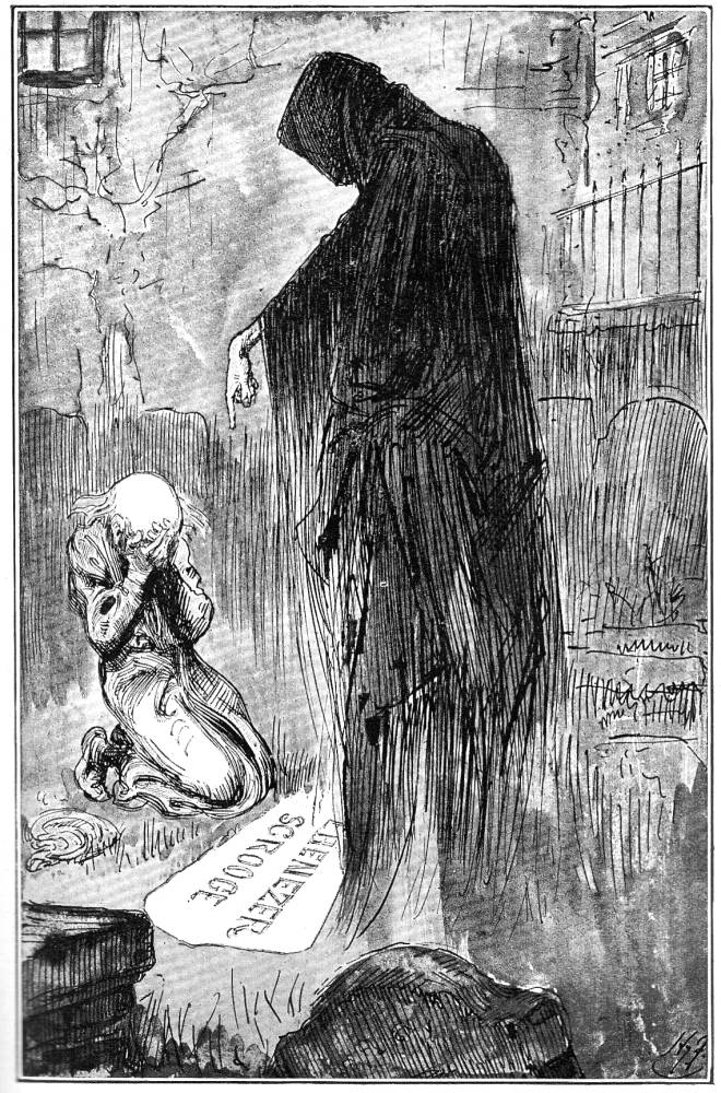 A Christmas Carol Spirits.The Last Of The Spirits By Harry Furniss Eighth