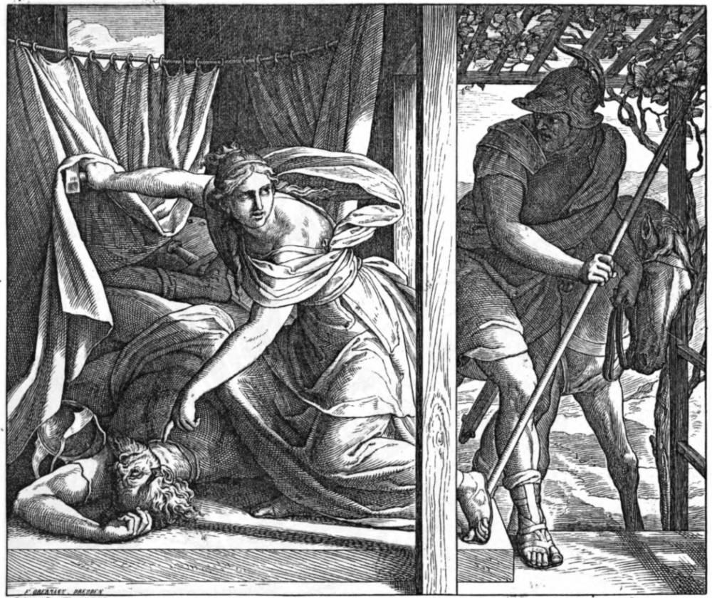 u201cJael kills Sisera with a tent pegu201d by Julius Schnorr von Carolsfeld (1794u20131872). & Jael kills Sisera with a tent pegu201d by Julius Schnorr von ...