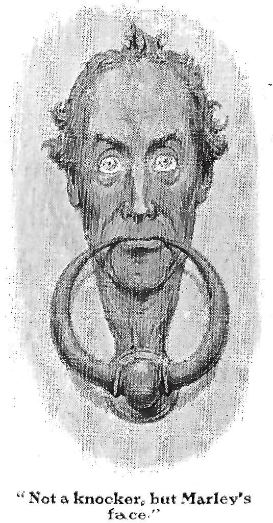 Christmas Carol Scrooge Drawing.Scrooge S Knocker Green S Sixth Illustration For A