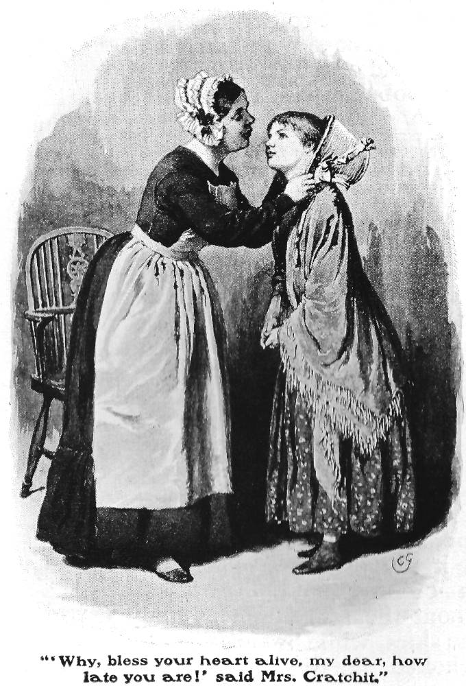 """""""Mrs. Cratchit and Martha"""" — Green's fifteenth illustration for """"A Christmas Carol"""""""