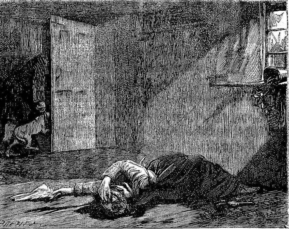 Ilustração de James Mahoney do assassinato de Nancy, um dos episódios de Oliver Twist, em edição publicada nos anos 1870. Imagem digitalizada por Philip V. Allingham, do Victorian Web.