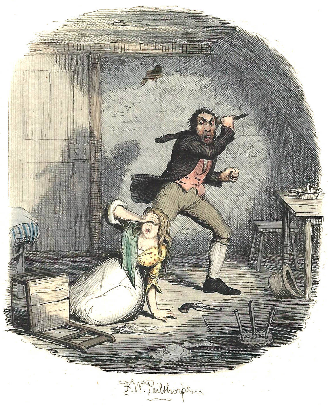 nancy in hysterics harry furniss s twenty fourth illustration centre felix octavius carr darley s sikes nancy and oliver twist 1888 right george cruikshank s illustration mr fagin and his pupils recovering