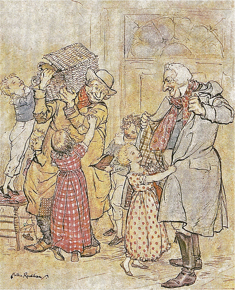 Laden With Christmas Toys And Presents Lithograph For Dickens S A Christmas Carol By Arthur Rackham 1915