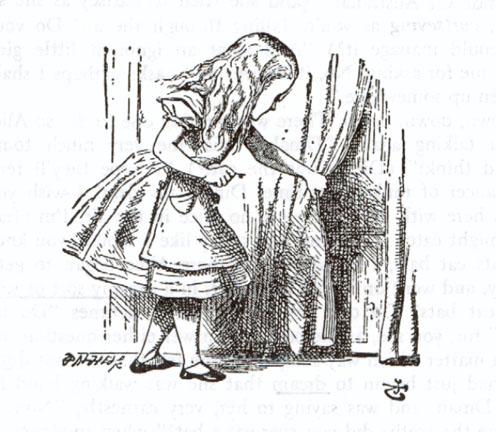 Alice, key in hand, finds the door to Wonderland — Illustrations for Alice  in Wonderland by John Tenniel