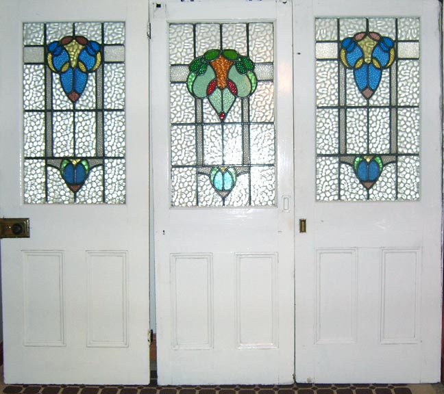Tree Stained Glass Door Panels By Unknown Designer And Manufacturer
