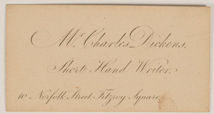 Dickens S Short Hand Writer S Business Card C 1830