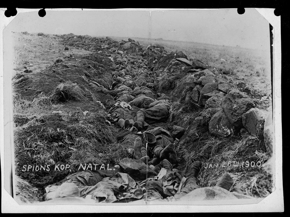 British dead in a shallow trench on Spion Kop, 26 January 1900