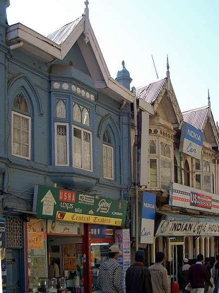Shop fronts along the Mall, Simla