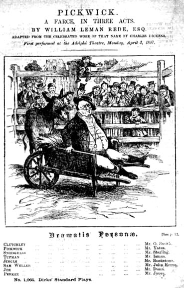 Titlepage pickwick a farce in three acts for What is farcical used for