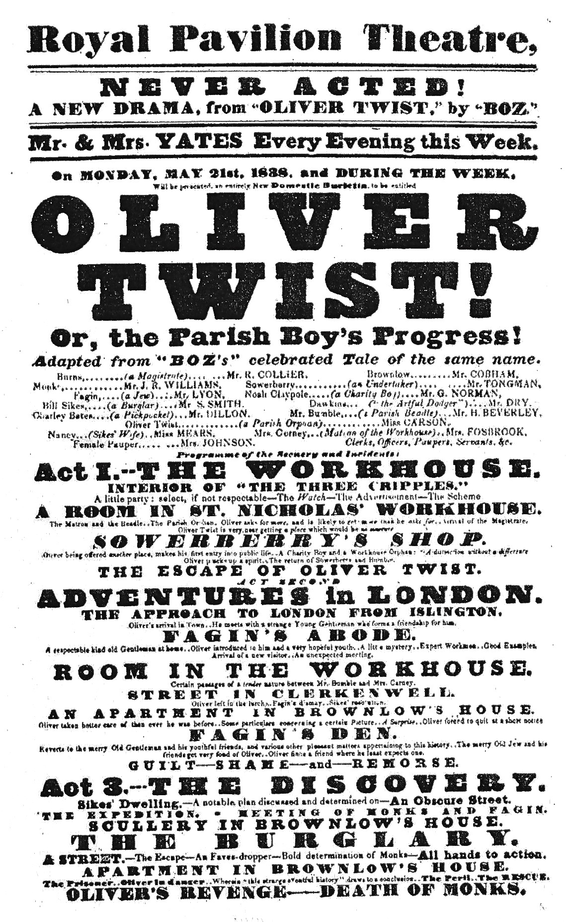 early dramatic adaptations of oliver twist  the earliest known playbill of an oliver twist production