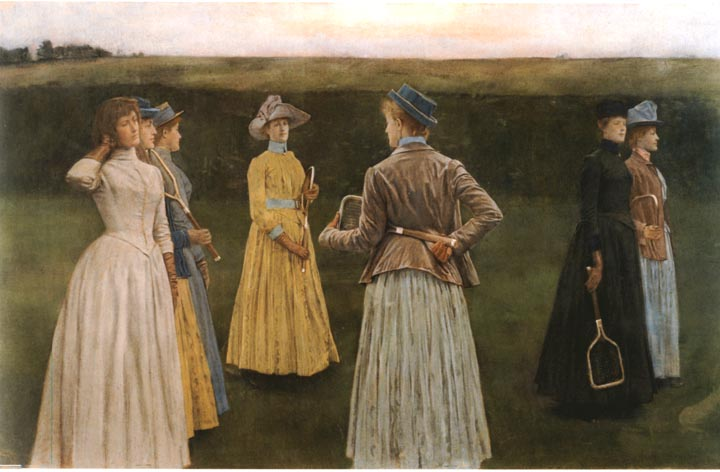 Lawn Tennis Drawing Seven Women Stand on a Lawn