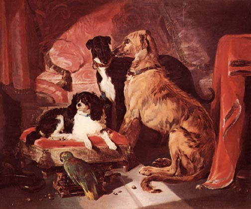 Queen Victoria's Favorite Dogs and Parrot painted by Sir Edwin Landseer, exhibited in 1838. The composition is centered around the be-ribboned spaniel,