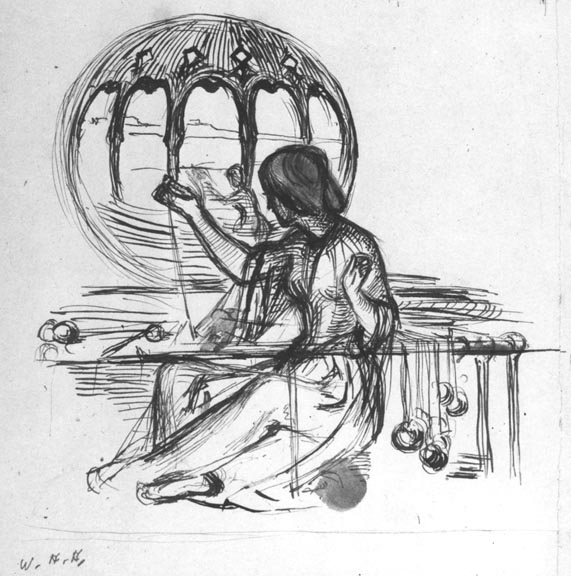 Sketch for the Lady of Shalott the lady sitting crosslegged by William