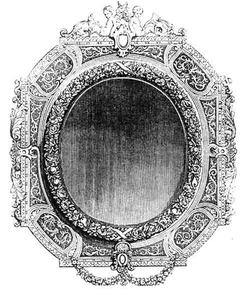 carved and guilt frame with engraved and chamfered glasses by chamouillet 1851