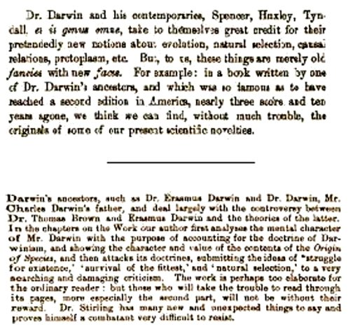 "darwin s ancestors the evolution of evolution figure 2 montage of reviews mentioning ""darwin s ancestors "" top the american church review 1874 bottom the scottish review 1894"