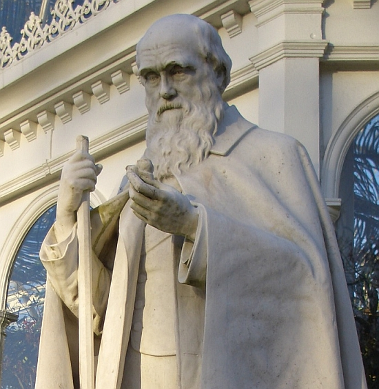 Detail of Darwin's statue in Liverpool, by Leon Chavalliaud