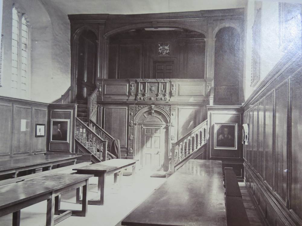 Victorian Foyer University : Hall magdelene college cambridge albumen photograph