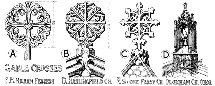 English Gothic Ornament Gable Crosses Drawn By Banister